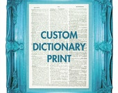 custom customizable upcycled vintage dictionary print dictionary page prints on dictionary paper customizable with free digital preview