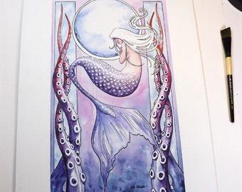 Deep Sea Mermaid - Original watercolor painting