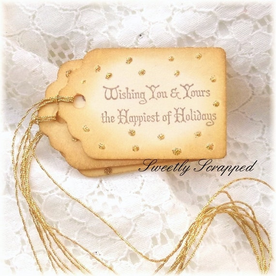 Wishing You and Yours the Happiest of Holidays Gift Tags, Gold Glitter, Shimmer, Sparkle, Christmas, Packaging