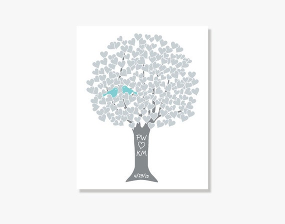 Personalized - Silver 25th Anniversary Gift Heart Tree - Art Print Monogram Name Date - Engagement Shower Wedding