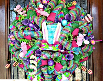 Whimsical Deluxe Easter Bunny Hat with Legs Wreath