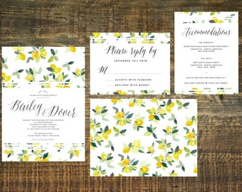 Yellow Wedding Invitation Set (Set of 25) | Wedding Invitation Suite, Invitation, Wedding Suite, Yellow, Spring Wedding
