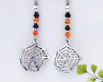 Spider Web Earrings Crystal Dangle Earrings Wicca Gothic Orange and Black Crystal Earrings Sterling Silver Earrings  #1000