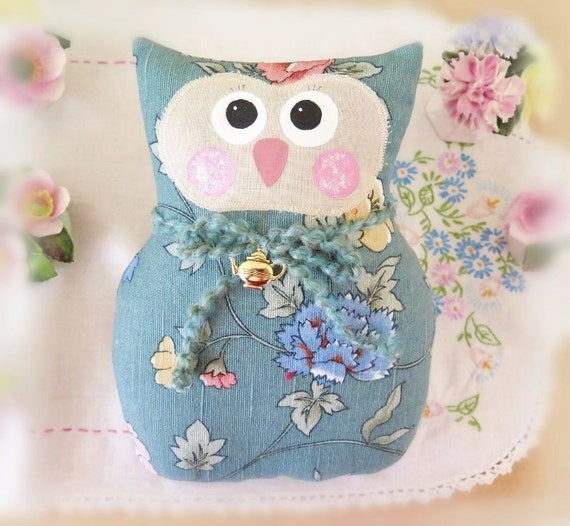 OWL Pillow Doll 9 inch Soft Sculpture Owl AQUA by CharlotteStyle