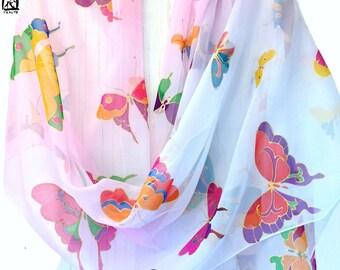 Bridal Silk Shawl, Oversized Scarf, Silk Chiffon Shawl, Hand Painted Silk Scarf, Pastel Kimono Butterflies, 22x90 inch, made to order