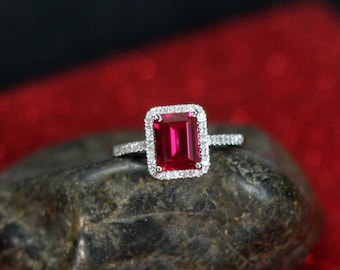 Ruby Engagement Ring Emerald cut & Diamonds Halo Ione Red 2ct 8x6mm Custom Size White-Yellow-Rose Gold-10k-14k-18k-Platinum