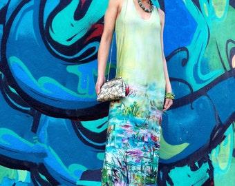 Floral Maxi Dress, Plus Size, Cotton Maxi Dress, Water Lillies Dress, Designer Dress, Summer Dress