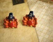 Turkey Earrings -- Turkey Studs, Thanksgiving Earrings, Gobble gobble