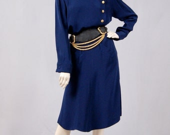 Vintage YSL Yves Saint Laurent Rive Gauche Navy Blue A-Line Skirt And Jacket Near Mint Condition