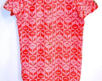 1960s Flower Power Pop Art Button up Top // Retro Polyester Blouse // Inverted Printed Top