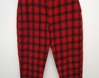 Woolrich Flannel Trousers / vintage red & black check wool hunting pants / men's large