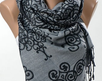 Long Scarf or Shawl or Neck Wrap. New Pashmina scarf. Gift scarf. Gray Black. On Sale.