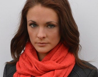 Orange scarf, coral snood,  fashion scarf, knitted cowl, circle scarf, elegant scarf, gift for her, cowl scarf