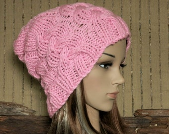 Womens Knit Hat, Cable Slouchy Beanie, Warm Woollen Beanie, Chunky Womens Mid Pink Knit beanie, Winter Fall Accessories