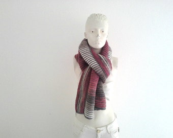 Skinny Striped Long Scarf, Open Ended OOAK Scarf, Vegan Knitwear, Winter Unisex Fashion, Unique Gift, for Her, for Him, Warm & Cozy, Stylish