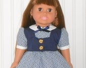 18 inch Doll Clothes Blue and White Dress 1950s Inspired with Navy Vest and White Slip American Doll Clothes