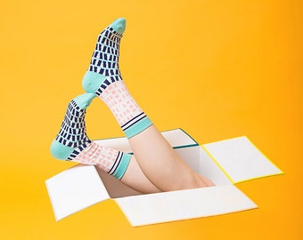 Silo Socks + Lined Digital Printed Drawstring Pouch Bag Gift Set | For her | For him | Sock bag | Project bag