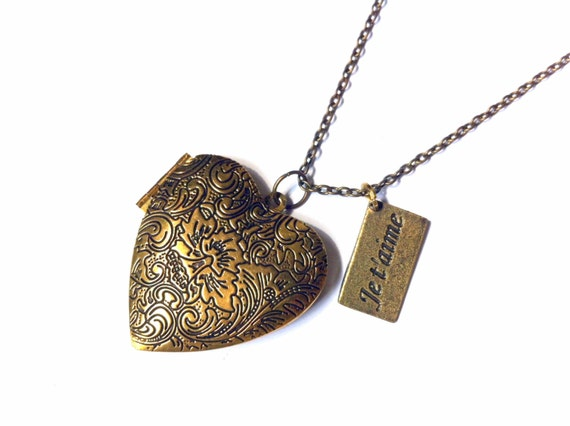 je t aime locket necklace by vintagehomage on etsy