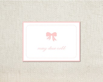 Pink bow and dot little girls enclosure cards calling cards