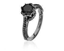 Royal Black Diamond & Black Gold Ring