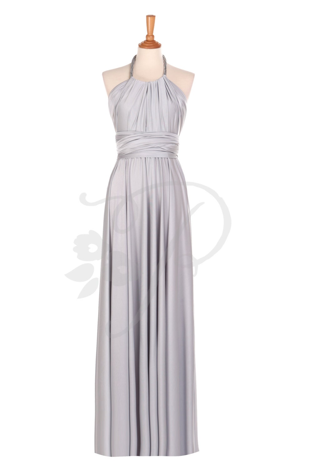 Bridesmaid dress infinity dress light grey silver floor for Light grey wedding dress