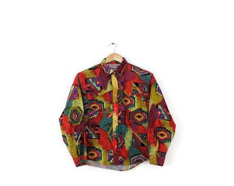 Vintage Wrangler  Southernwest Tribal /Navajo pattern Long Sleeve Cotton Shirt  from 1980's*
