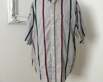 Vintage Light Weight Short Sleeve Pin Striped Shirt Men XL