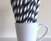 Navy Blue Striped Paper Straws Party Supplies Party Decor Bar Cart Accessories Cake Pop Sticks Mason Jar Straws Graduation Party