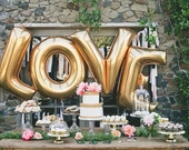 Love Balloons / 40 Inch Giant Jumbo Letter Balloons / Wedding / Birthday Party / Baby / Bridal Shower  / Gold / Silver / Mylar Foil