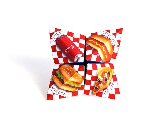 Digital Valentine food cootie catcher / DIY Valentine's Day card / fortune teller / game / DIY toy gift / printable download / junk food