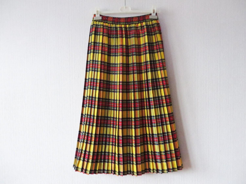 yellow tartan plaid accordion pleated skirt knee length