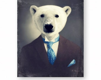 """Polar Bear Art Print Animal Art Nursery Decor Animals In Clothes Unique Home Decor (3 Sizes Available) """"Wallace With A Snowy Nose"""""""