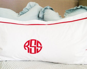 Monogram King Pillow Sham with Ribbon Trestle Trim / Monogram Bedding