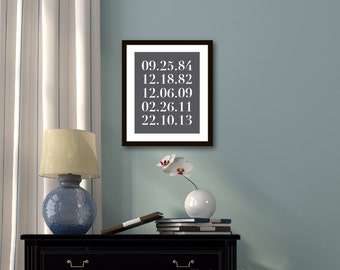 Special Dates Print - Numbers Art Print - Important Family Dates - Personalized Anniversary Gift -Charcoal Grey