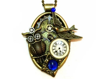 Steampunk Necklace, Owl Necklace, Steampunk Jewelry Steampunk Owl, Oval Collage Pendant, Blue, Clock, Vintage Watch Parts, Bird, Steam punk
