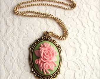 Pink Roses Cameo Necklace, Floral Design Victorian style Cameo Necklace, Gift for Her, Vintage Style Cameo Necklace, Flower Cameo Pendant