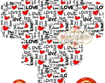 LOVE -  Printable Download Digital Collage Sheet Gift Box ChikUna Art Paper Craft Scrapbook DIY Creat - Print and Cut