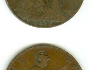 Two 1912 English Pennies - Vintage Antique Coins > 100 yrs. Old