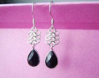 Black onyx dangle earrings Sterling silver teardrop earrings Onyx jewelry Gemstone earrings Valentine's day Gift for her Chainmaille jewelry