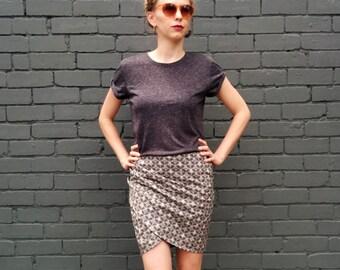 Mini Wrap Skirt /Geometric Print Skirt / Printed Mini Skirt- Handmade by FallFellFallen