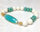 Boho Beach Chic Summer Style Stretch Bracelet White Bone Beaded Bracelet Aqua Ocean Blue Chalcedony Stacking Stretch Bracelet by loveandlulu