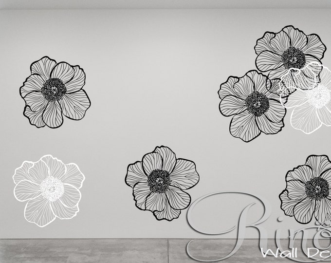Premium large Flowers Floral Wall art DECAL - Vinyl sticker home decor modern shabby chic nursery outilne decals customized your blank wall