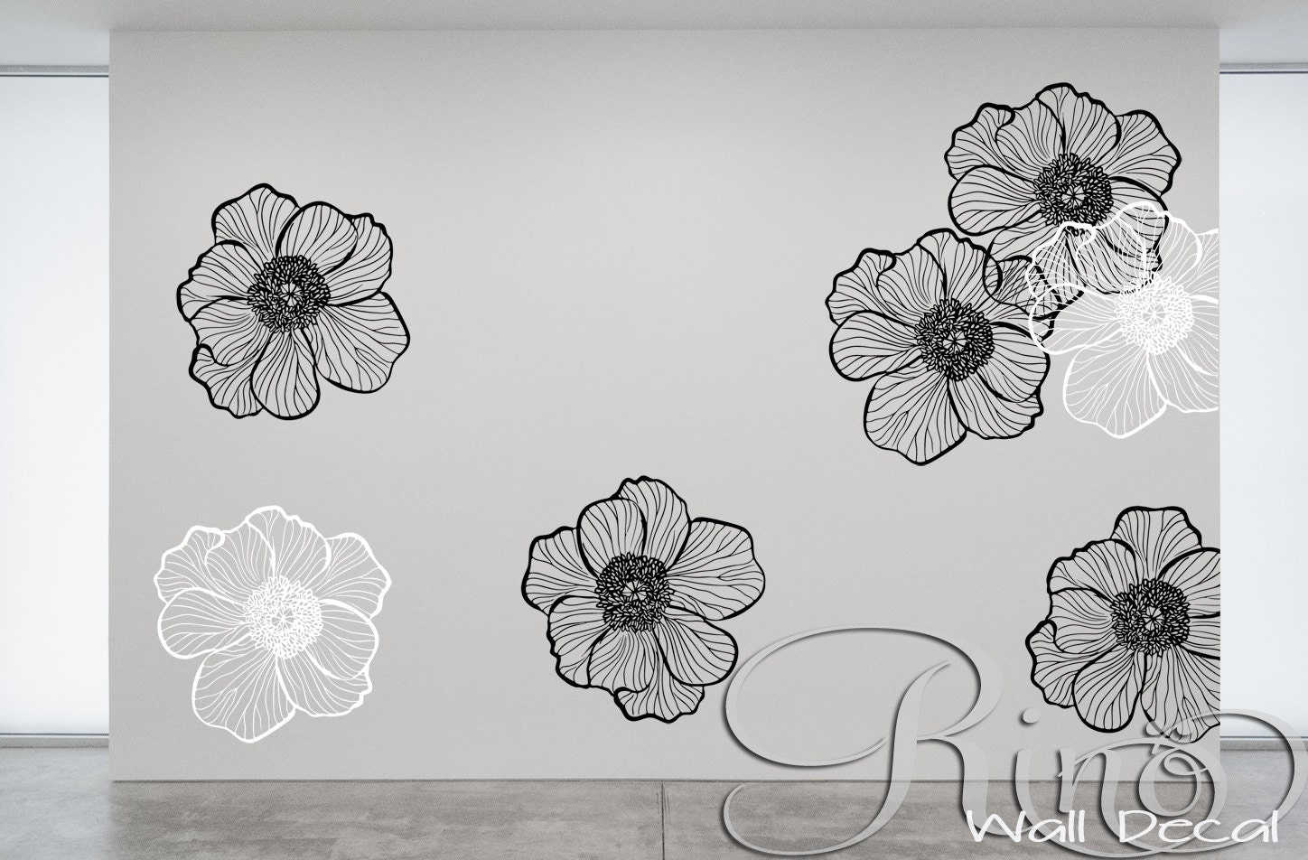 Large Flower Wall Decor : Premium large flowers floral wall art decal vinyl