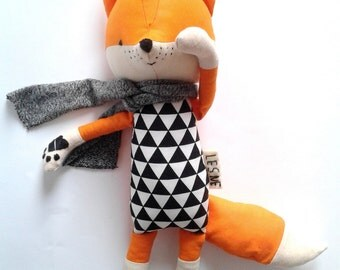 LOIC the fox. stuffed cute little fox. made-to-order. eco toy. gift for children. modern stuffed fox. textile fox. kids room decorative fox.