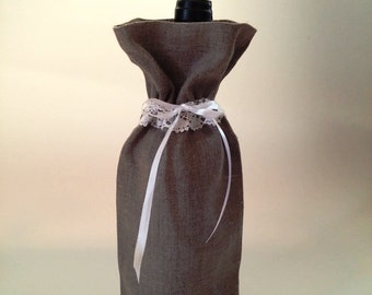 Bottle Bag - Linen Wine Bag - Wine Bag - Rustic Wedding - Wine tote - Wine carrier -  Wedding gift - Reusable Bag - Ready to Ship