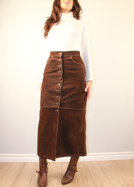 Vintage high waist skirt long brown suede skirt Skotts Suede