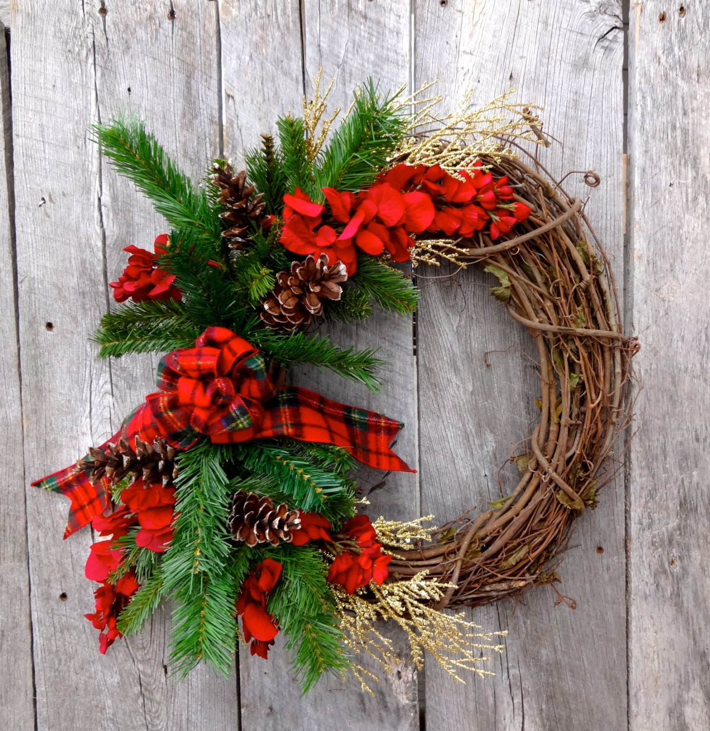 holiday door wreath winter floral wreath front by thestyledseasons. Black Bedroom Furniture Sets. Home Design Ideas