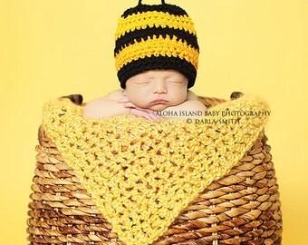 Crochet Newborn Baby Toddler Teenage Bumble Bee Hat Beanie