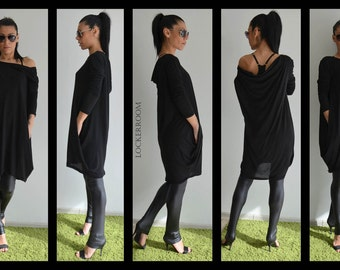 Fallen Sleeve Tunic, Loose Black Tunic, Loose Tunic, Plus Size Tunic, Oversize Black Top, Modern Maxi Top, Fallen Shoulder Top By LOCKERROOM