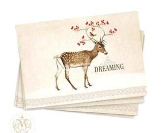 Christmas, deer, card set, winter woodland, snow scene, reindeer, dreaming, antlers, red berries, robin, white Christmas, holiday note cards